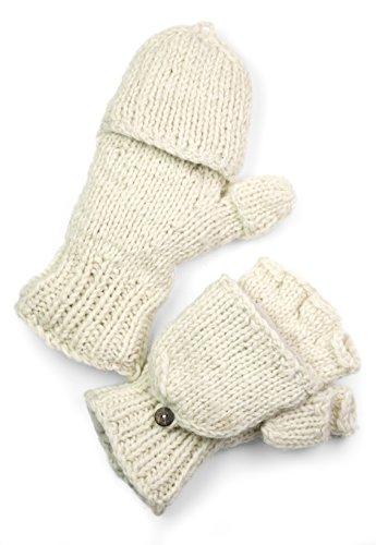 TCG Women's Hand Knit Wool Glittens - Cream
