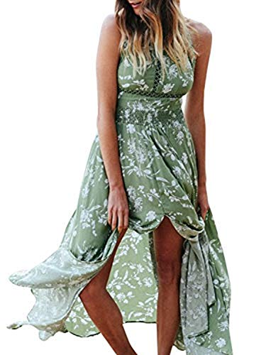 (BerryGo Women's Chic Sleeveless Backless Halter Floral Print Split Maxi Dress Green)