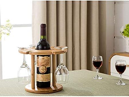 LQIQI Botelleros Vino Apilable Madera Originales Rústicos Portavasos Colgante Creatividad Al Revés Mueble Vinoteca Manejable Organizador De Vino para Encimeras De Cocina