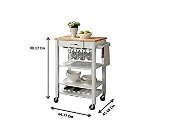 Coaster Home Furnishings Kitchen Cart with Butcher Block Top Natural Brown and White