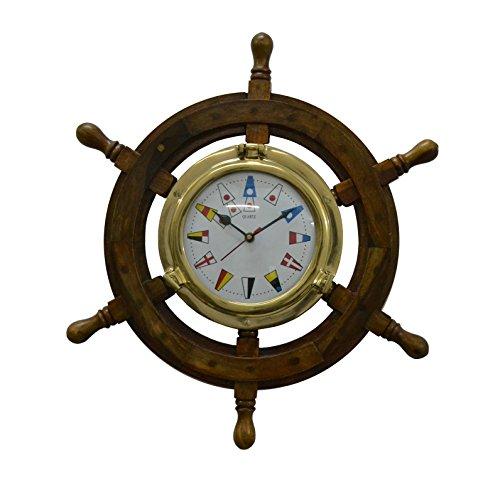 Brass Nautical Solid Wood Brass Ship Wheel Wall Clock Porthole Nautical Decor Shipwheel Boat DecorationWooden Nautical Shipwheel with Clock - Maritime Pirate (Lighthouse Brass Clock)