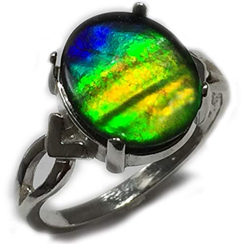 (Rocks2Rings Ammolite Ring Solitaire 925 Sterling Silver Setting, 12 x 10 mm Genuine Ammolite Jewelry, Ring Size 5,6 7, or 8, Elegant Gift Box S7-45 ZP)
