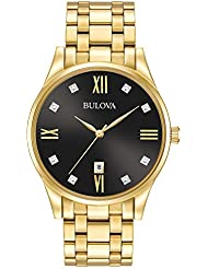 Bulova Men's Quartz Stainless Steel Dress Watch, Color:Gold-Toned (Model: 97D108)