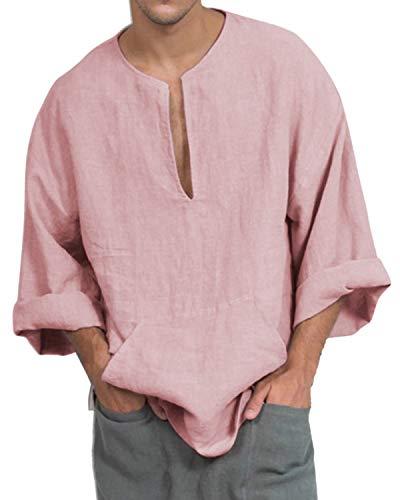Jacansi Mens Kaftan Linen Cotton Solid Long Sleeve V Neck Loose Pocket Tops Pink M