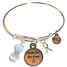 Cancer Awareness (Hope for the Cure) Expandable Wire Bangle Bracelet, Comes in a GIFT BOX!