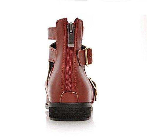 de para 41 Primavera Zapatos Cinturón pie Dedo Hebilla Yellow Court Punta la Otoño RED Ayudar Zapatos Womens 43 Plana bajo a XIE del y 61wqUfp6n