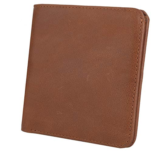 (YALUXE RFID Blocking Leather Slim Wallet Credit Card Security Holder Soft Brown )