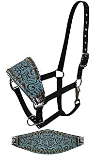 Showman Adjustable Nylon Teal Filigree Bronc Halter. Small Copper Colored  Studs And Engraved Conchos.
