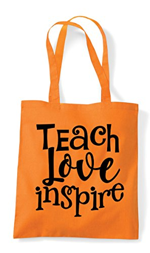 Inspire Statement Shopper Teach Bag Love Orange Tote 8w5q5gE