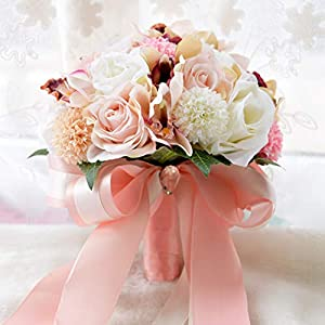 WSJS Wedding Flower Bouquet Bridal Bouquet Pure Manual Hand Holding Flower Bridesmaid Wedding Decoration Bouquets Artificial Rose Flower 75