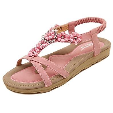 edb358042ffe7 Insun Women's Pink T Strap Flat Sandal 9.5 US