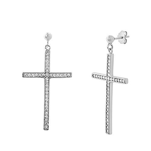 Lesa Michele Womens Cubic Zirconia Dangle Drop Cross Earring in Sterling Silver (Zirconia Cubic Drop Beads)