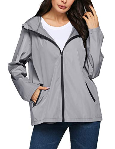 LOMON Rain Jacket Women Foldable Outdoor Travel Hiking Soft Shell Active Raincoat(Gray,M) (Best Outdoor Coats For Women)
