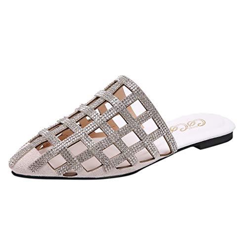 Womens Flip Flops Sandals Summer Beach Slippers Pointed Hollow Diamond Flat Bottom Drag Slippers Pumps Beige