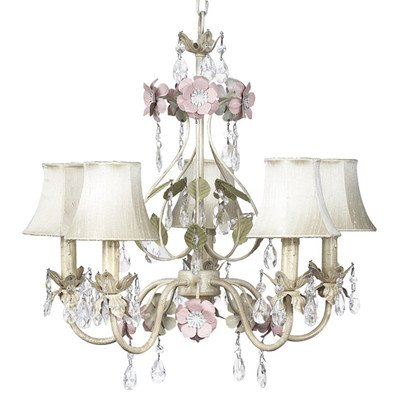 Jubilee Collection 7436-2507-510 5 Arm Flower Garden Chandelier with Scallop Drum Green Shade and Pink Check Sash, Ivory/Sage/Pink