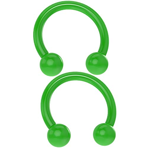 (Bling Piercing 2pcs Acrylic Horseshoe Circular Barbell 16 Gauge 5/16 Green Plastic UV Flexible Cartilage Earrings)