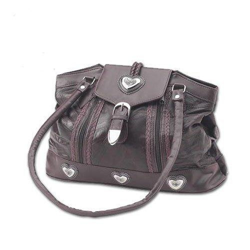 Embassy Large Brown Genuine Leather Purse Southwest Silver Heart Conchos