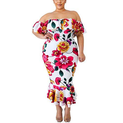 LISTHA Off Shoulder Boho Dress Plus Size Women Party Ruffled Fishtail Slim Dress