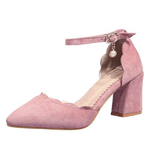 Mee Shoes Damen Blockabsatz Borte Schnalle Pumps Pink
