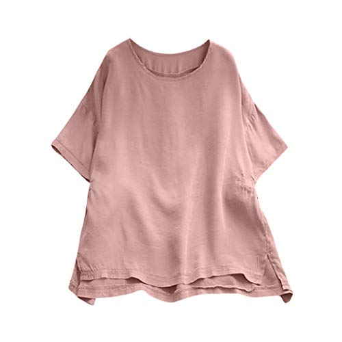 Birdfly Super Loose Wide Cuff Cotton Linen Plain Blouse Tops for Women Breezy Summer (XL, Light ()