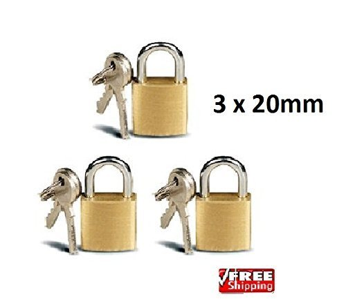 Price comparison product image 3 X mini 20mm padlocks for luggage suitcase tool box gym lockers shed garage gates bike locks bag lock safe security by Tommy Walsh