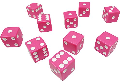 Hobby Monsters 10 Piece Pink 16mm Game Dice with White Pips -