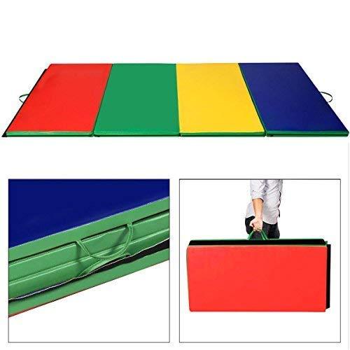 Giantex 4'x10'x2 Gymnastics Mat Folding Panel Thick Gym Fitness Exercise (Multicolor)