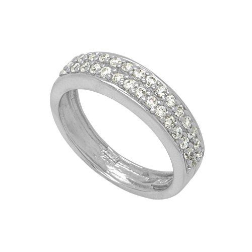 Sterling Silver CZ 2 Row Half Around Ring Band
