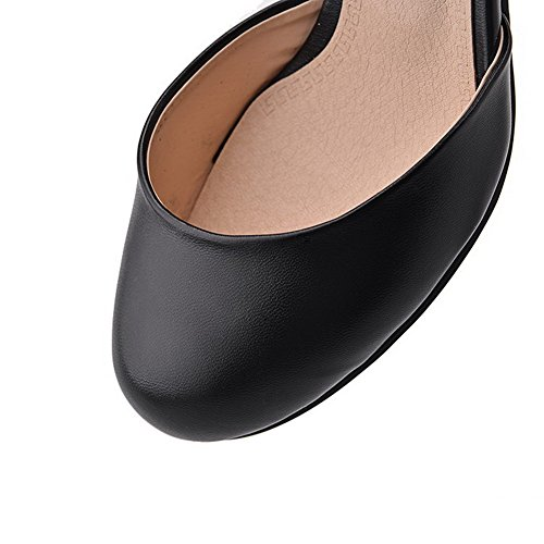 AgooLar Women's Round Closed Toe Buckle PU Solid Kitten-Heels Sandals Black R7RI7kFi