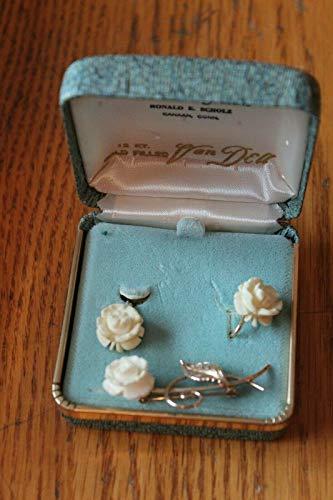 - Van Dell 12kt GF Bovine bone carved Flower rose brooch clip on earrings Vintage