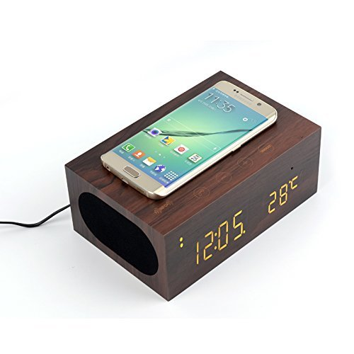 Multi-function Bluetooth Wireless Stereo Speaker & Wood Alarm Clock / LED Time + Day Display for iPhone Samsung Smartphone Laptop and Other Digital Devices. (BROWN)