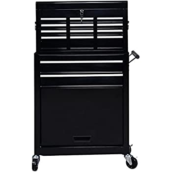 Goplus Portable Top Chest Rolling Tool Storage Cabinet Organizer 6 Sliding Drawers (Black)