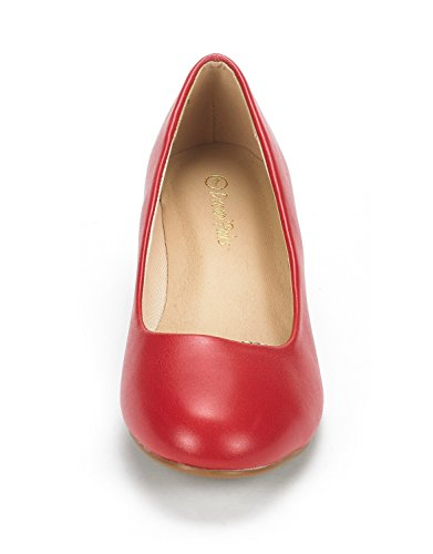 DREAM PAIRS Womens Debbie Mid Wedge Heel Pump Shoes Red Pu QUMXO