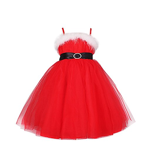 iEFiEL Girls Merry White Boa Sash Tie Christmas Tulle Dress Spaghetti Straps Red 7-8 (Christmas Pageant Dresses)