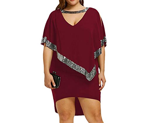 Sequined Capelet Dress Plus Size 5XL Choke V Neck Round Collar Split Sleeve Bodycon Dip Hem Party Dress,Wine Red,4XL