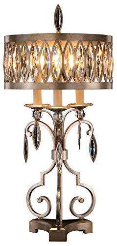 John Richard Table Lamp Antique Silver Faceted Marquise Crystals Iron Cr (John Iron Lamp Table)