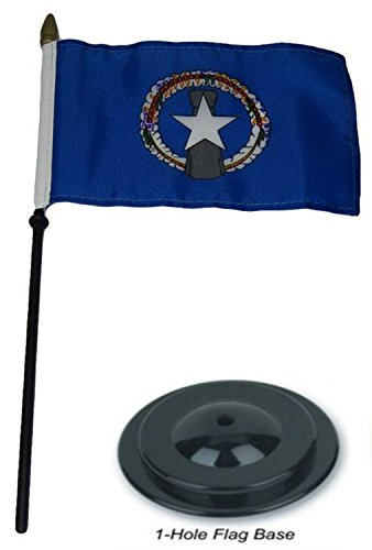 Marianas Outdoor Table Lamp - ALBATROS Northern Marianas Country 4 inch x 6 inch Flag Desk Set Wood Table Stick Staff with Black Base for Home and Parades, Official Party, All Weather Indoors Outdoors