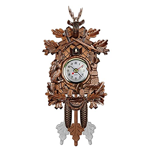 Cuckoo Wall Clock, Alarm Clock Retro Clock Wooden Living Room Clock Wall Clock Art Home Living Room Kitchen Office Decoration (D)