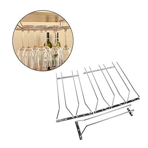 Onpiece Wine Glass Stainless Steel Rack Holder Under Cabinet Stemware Hanger Shelf Bar (Triple Row) ()