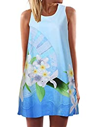 Vintage Boho Women Summer Sleeveless Beach Printed Short Mini Dress