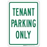 Green Board Tenant Parking Only Sign Large 10 X 7 Rust Free Aluminum Sign UV Printed with Professional Graphics-Easy to Mount Indoors & Outdoors