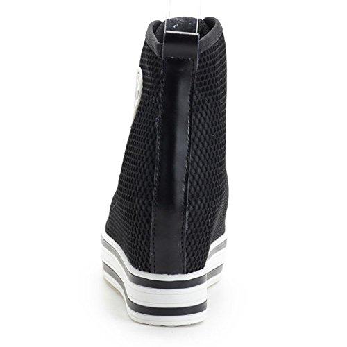 Shenn Mujer Lujoso Respirable Nylon Pantalla Malla Cuña Zapatillas 6856 Negro