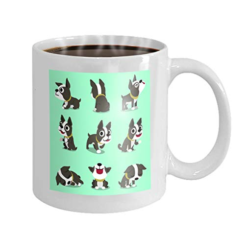 11 oz Coffee Mug cartoon character cute boston terrier dog expressing different emotions speech bubbles design Novelty Ceramic Gifts Tea Cup