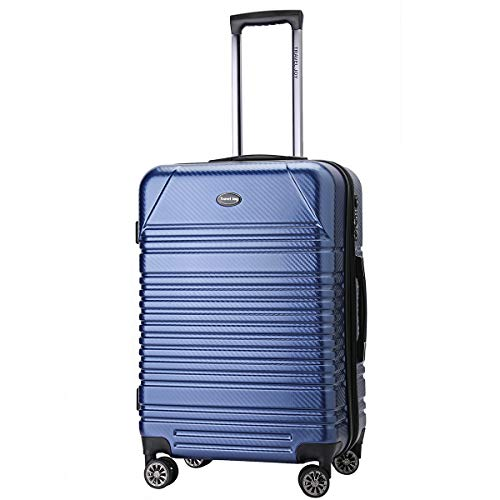Expandable Carry on Luggage Premium Carbon Fiber Suitcase TSA Lightweight Spinner Carry On Luggage 20inches LIGHT BLUE