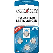 Rayovac L675ZA-8ZM Mercury Free Zinc Air Hearing Aid Batteries Size, 675 - 8 pack