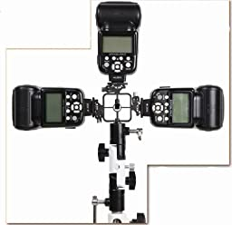 Full aluminum OM-38 Pro Flash Hot Shoe with Triple (3) flash mount head Umbrella Holder adapter mount with Swivel/Tilt Bracket 3 section U shape for Nikon and Canon Speedlight