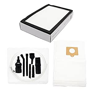 3 Replacement Kenmore 11620712000 Vacuum Bags & 1 HEPA Filter with 7-Piece Micro Vacuum Attachment Kit - Compatible Kenmore 50558, 5055, 50557, Type C Vacuum Bags & 86880, KC38KBRMZ000, EF-2 Filter