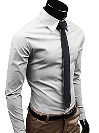 HnB Men's Stylish Formal Shirts Dress Shirt Solid Color Slim Fit Long Sleeve (Grey M)