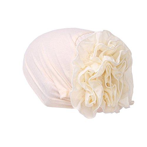 (Muslim Hat Women Flower Ruffle Cancer Chemo Beanie Scarf Turban Head Wrap Cap White )