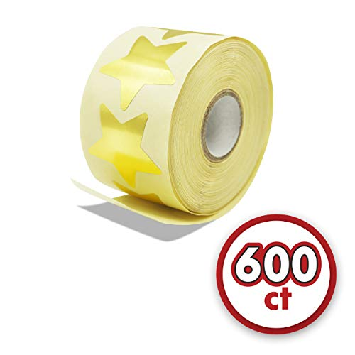 600 Metallic Golden Star Shaped Foil Labels Stickers in Roll (Each Measures 1.5